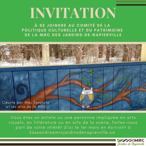 Invitation à se joindre au Comité de la Politique Culturelle et du Patrimoine de la MRC des Jardins-de-Napierville