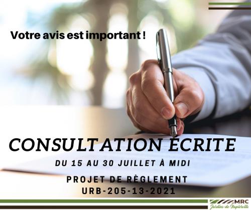 Consultation écrite – Projet de règlement URB-205-13-2021
