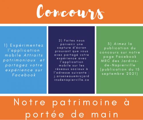 Attraits patrimoniaux:  nouvelle application et concours
